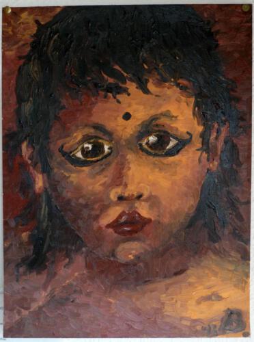 Indisches Kind, 1993, Öl (auf Papier) 40x30cm