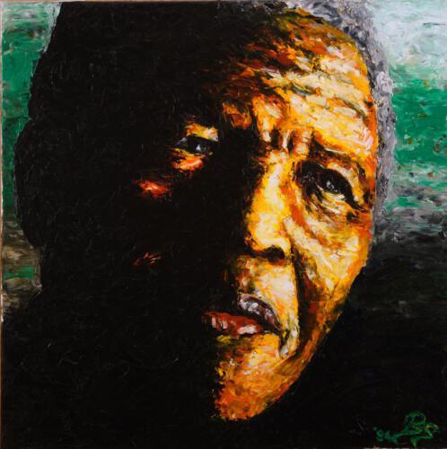 Nelson Mandela, 1994, Öl, 80x80cm