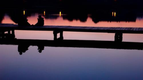 Abendstimmung, Bootssteg, Menschen, Polen