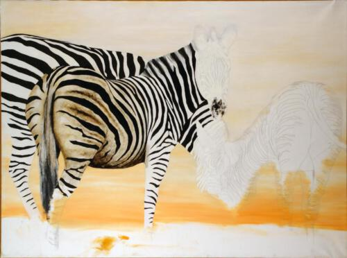 Zebras, ca. 1996, Öl, 80x110cm